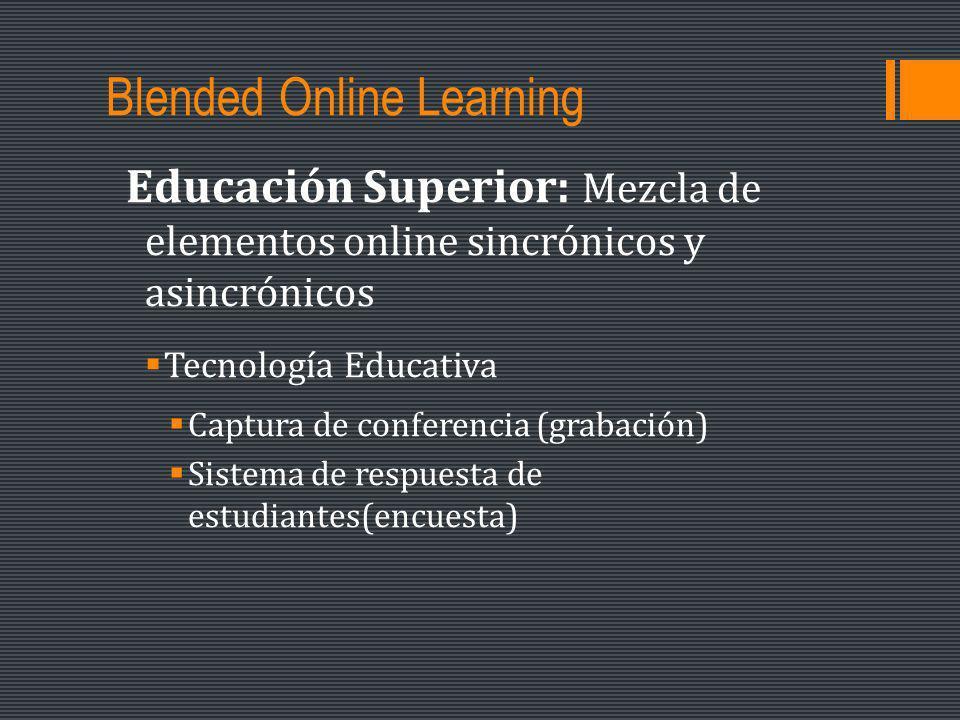 Blended Online Learning Educación Superior: Mezcla de elementos online sincrónicos y asincrónicos Tecnología Educativa Captura de conferencia (grabación) Sistema de respuesta de estudiantes(encuesta)