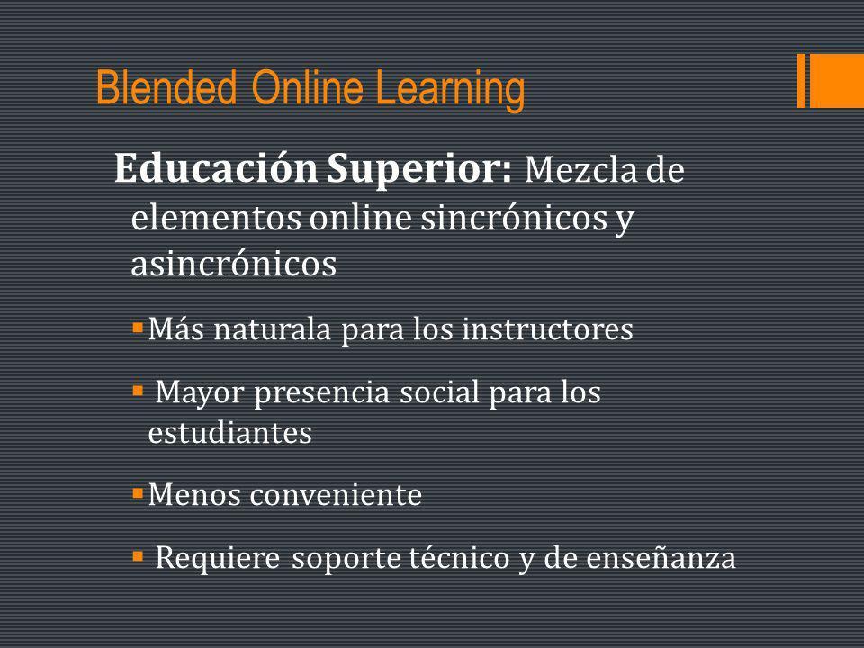 Blended Online Learning Educación Superior: Mezcla de elementos online sincrónicos y asincrónicos Más naturala para los instructores Mayor presencia social para los estudiantes Menos conveniente Requiere soporte técnico y de enseñanza