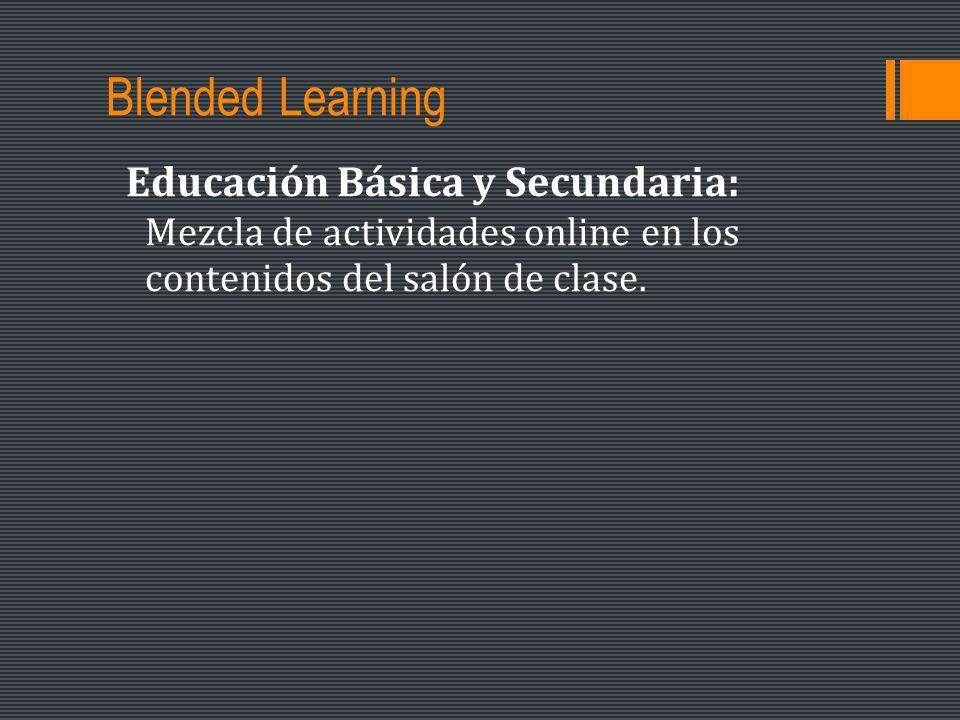 Blended Learning Educación Básica y Secundaria: Mezcla de actividades online en los contenidos del salón de clase.