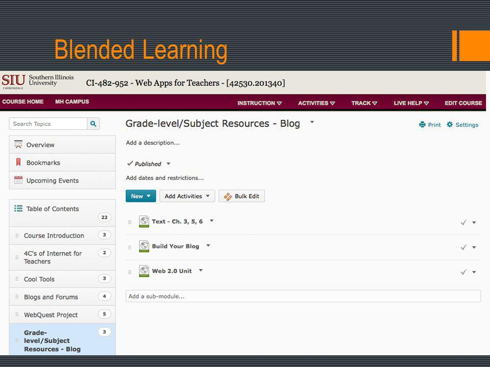 Blended Learning Higher Education: Mix online activities and face-to-face classroom meetings