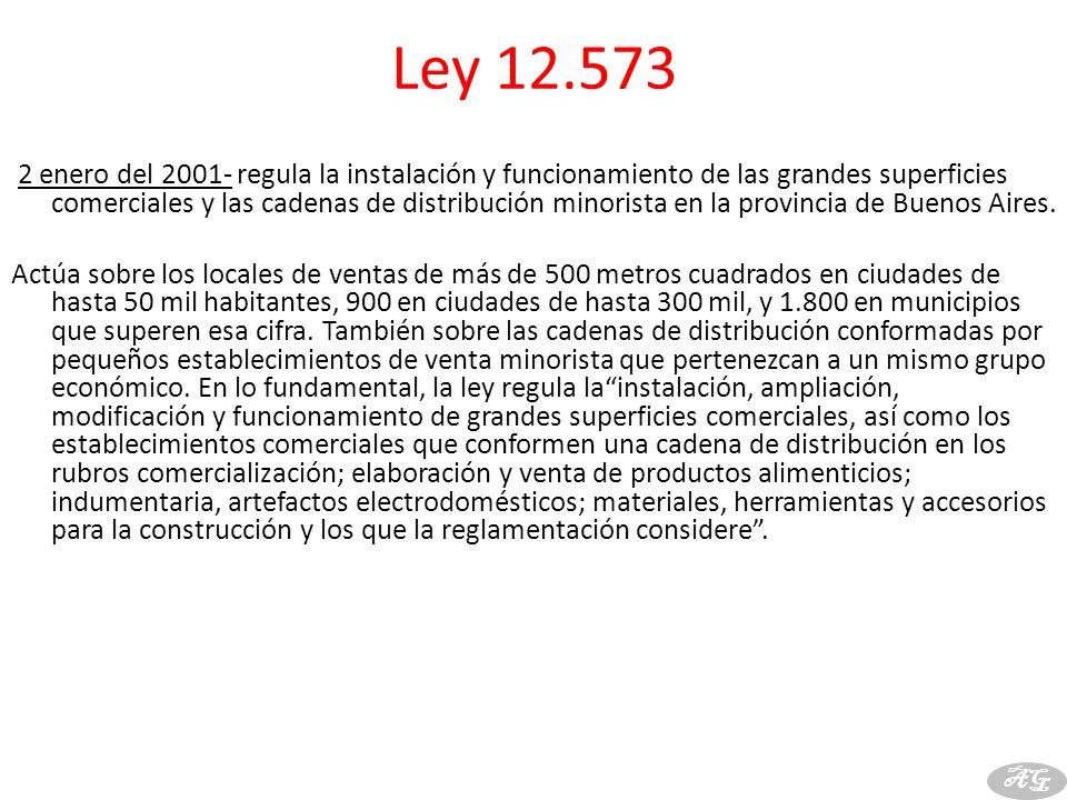 Ley 12.573 2 enero del 2001- regula la instalación y funcionamiento de las grandes superficies comerciales y las cadenas de distribución minorista en