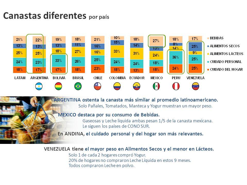 Canastas diferentes por país ARGENTINA ostenta la canasta más similar al promedio latinoamericano. Solo Pañales, Tomatados, Manteca y Yogur muestran u