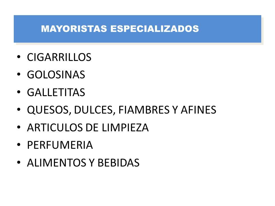 CIGARRILLOS GOLOSINAS GALLETITAS QUESOS, DULCES, FIAMBRES Y AFINES ARTICULOS DE LIMPIEZA PERFUMERIA ALIMENTOS Y BEBIDAS MAYORISTAS ESPECIALIZADOS