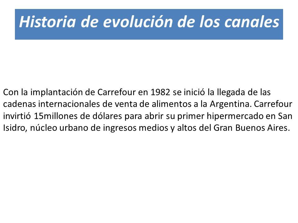Con la implantación de Carrefour en 1982 se inició la llegada de las cadenas internacionales de venta de alimentos a la Argentina. Carrefour invirtió