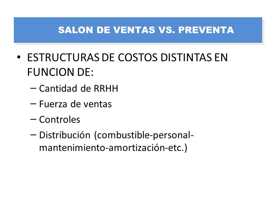 ESTRUCTURAS DE COSTOS DISTINTAS EN FUNCION DE: – Cantidad de RRHH – Fuerza de ventas – Controles – Distribución (combustible-personal- mantenimiento-a