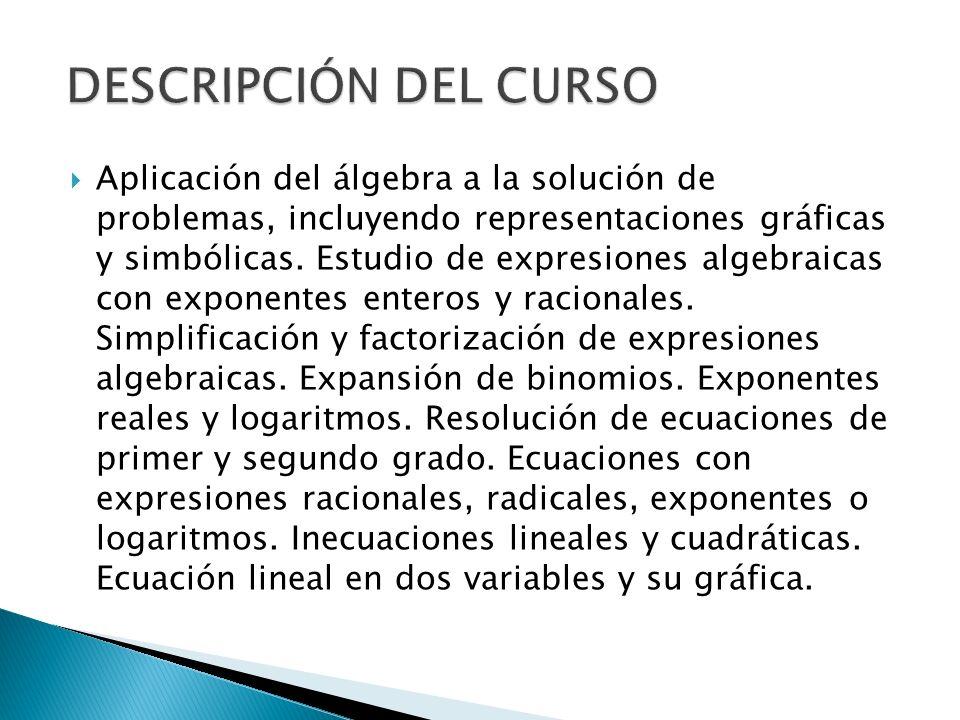 Aplicación del álgebra a la solución de problemas, incluyendo representaciones gráficas y simbólicas. Estudio de expresiones algebraicas con exponente