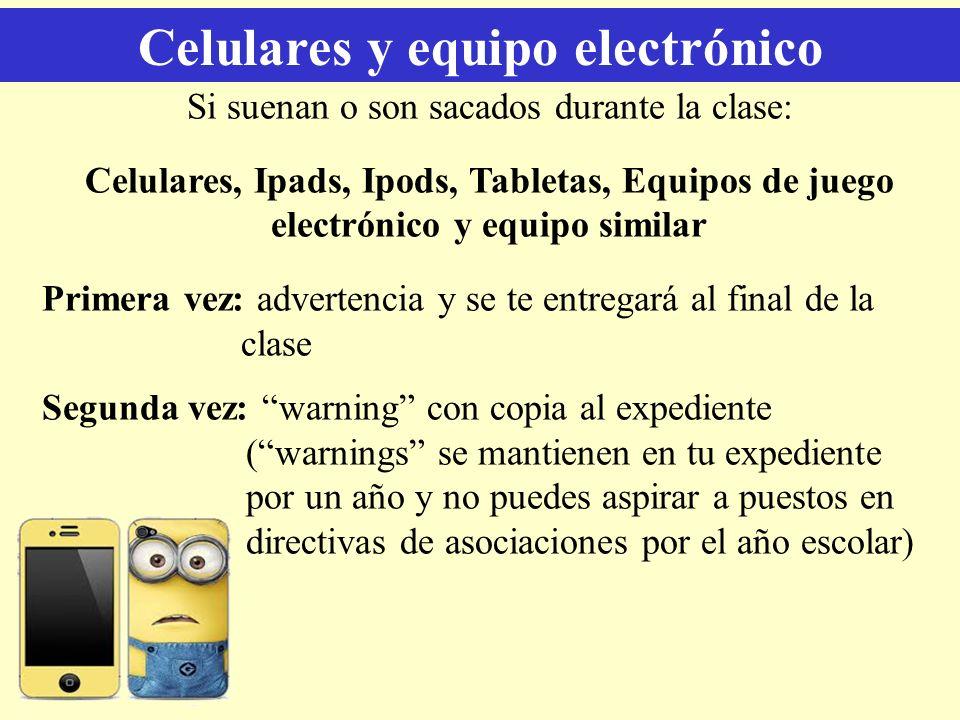 Celulares y equipo electrónico Si suenan o son sacados durante la clase: Celulares, Ipads, Ipods, Tabletas, Equipos de juego electrónico y equipo simi