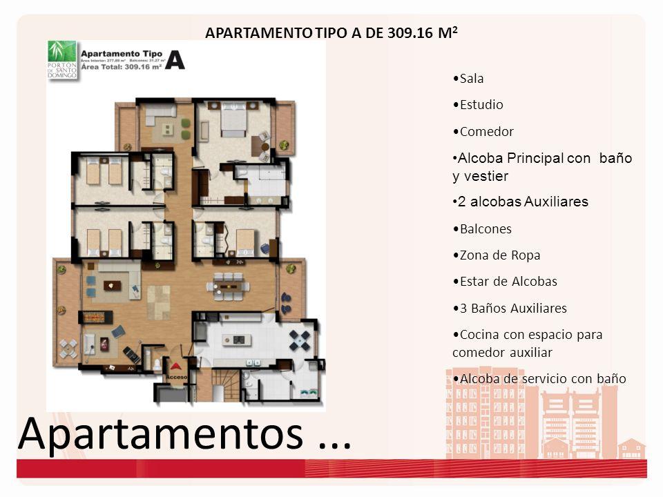 Apartamentos... APARTAMENTO TIPO A DE 309.16 M 2 Sala Estudio Comedor Alcoba Principal con baño y vestier 2 alcobas Auxiliares Balcones Zona de Ropa E