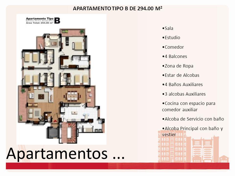 Apartamentos... APARTAMENTO TIPO B DE 294.00 M 2 Sala Estudio Comedor 4 Balcones Zona de Ropa Estar de Alcobas 4 Baños Auxiliares 3 alcobas Auxiliares