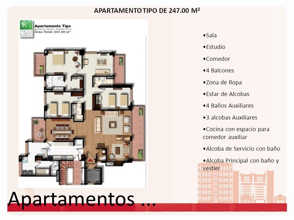 Apartamentos... APARTAMENTO TIPO DE 247.00 M 2 Sala Estudio Comedor 4 Balcones Zona de Ropa Estar de Alcobas 4 Baños Auxiliares 3 alcobas Auxiliares C