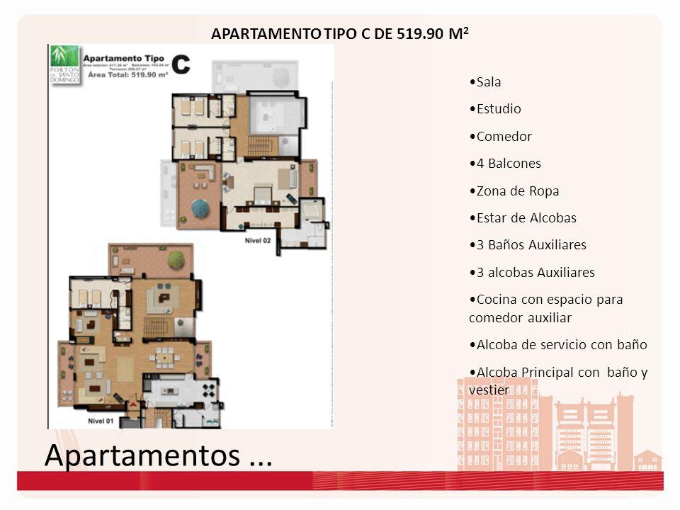 Apartamentos... APARTAMENTO TIPO C DE 519.90 M 2 Sala Estudio Comedor 4 Balcones Zona de Ropa Estar de Alcobas 3 Baños Auxiliares 3 alcobas Auxiliares