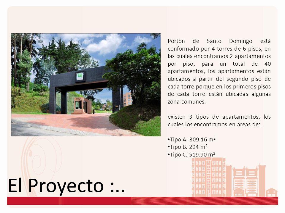 El Proyecto :.. Portón de Santo Domingo está conformado por 4 torres de 6 pisos, en las cuales encontramos 2 apartamentos por piso, para un total de 4