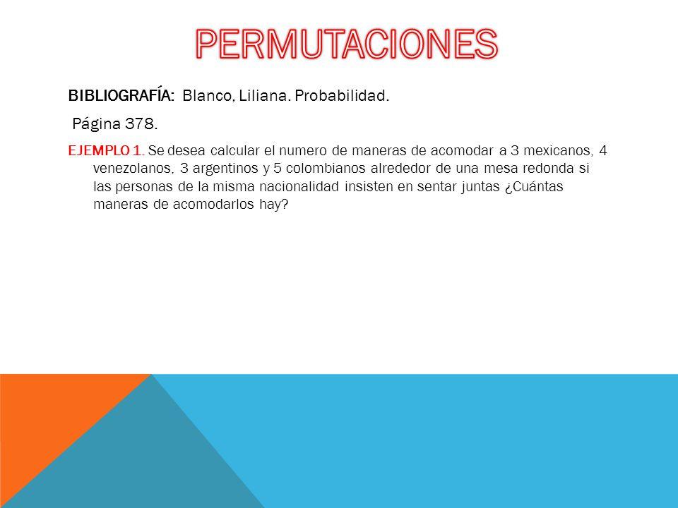 BIBLIOGRAFÍA: Blanco, Liliana. Probabilidad. Página 378. EJEMPLO 1. Se desea calcular el numero de maneras de acomodar a 3 mexicanos, 4 venezolanos, 3