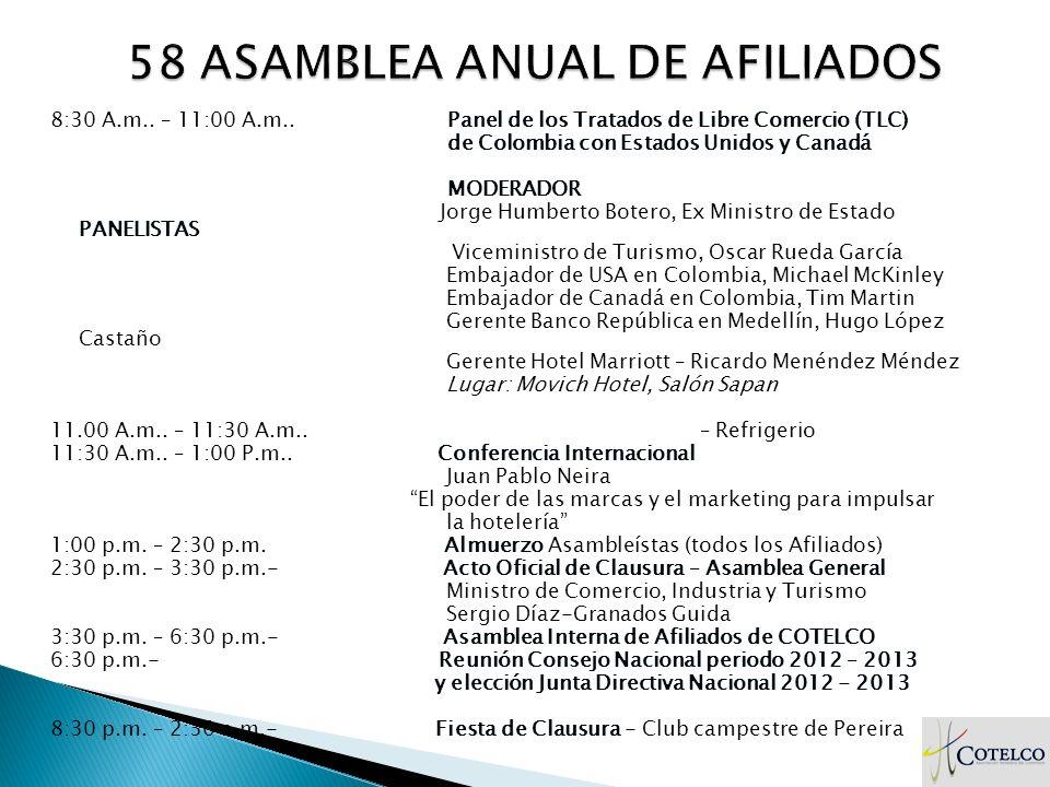 Viernes 23 de marzo Panel de los Tratados de Libre Comercio (TLC) 8:30 A.m.. – 11:00 A.m.. Panel de los Tratados de Libre Comercio (TLC) de Colombia c