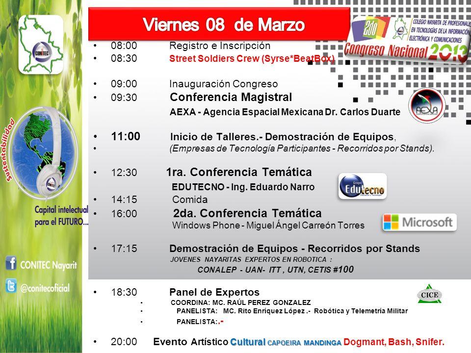 08:00 Registro e Inscripción 08:30 Street Soldiers Crew (Syrse*BeatBox) 09:00 Inauguración Congreso 09:30 Conferencia Magistral AEXA - Agencia Espacial Mexicana Dr.