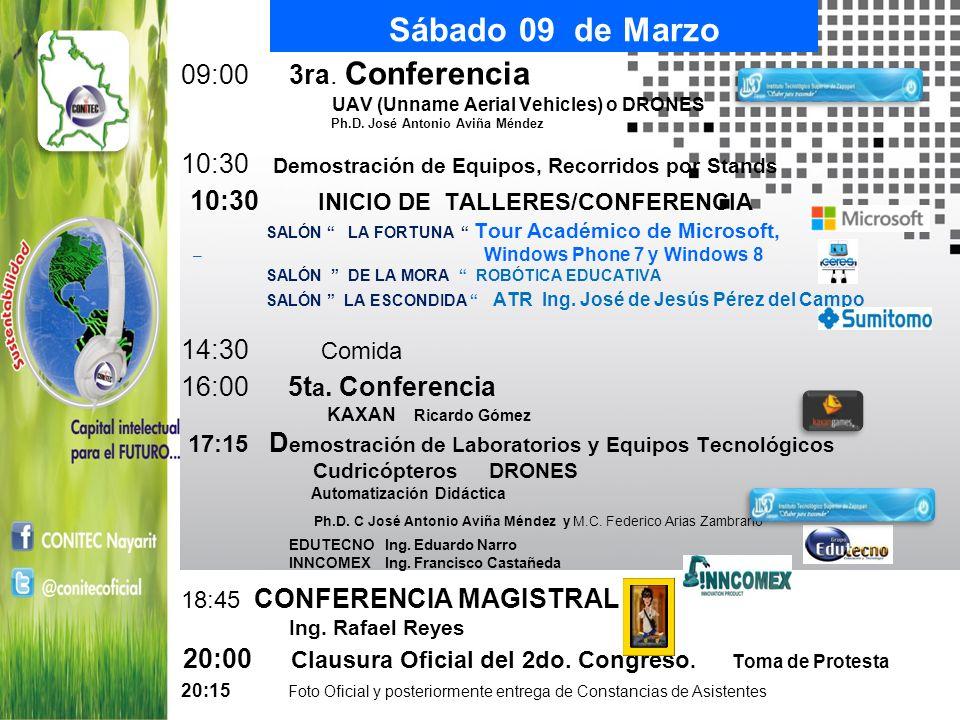 Sábado 09 de Marzo 09:00 3ra. Conferencia UAV (Unname Aerial Vehicles) o DRONES Ph.D. José Antonio Aviña Méndez 10:30 Demostración de Equipos, Recorri