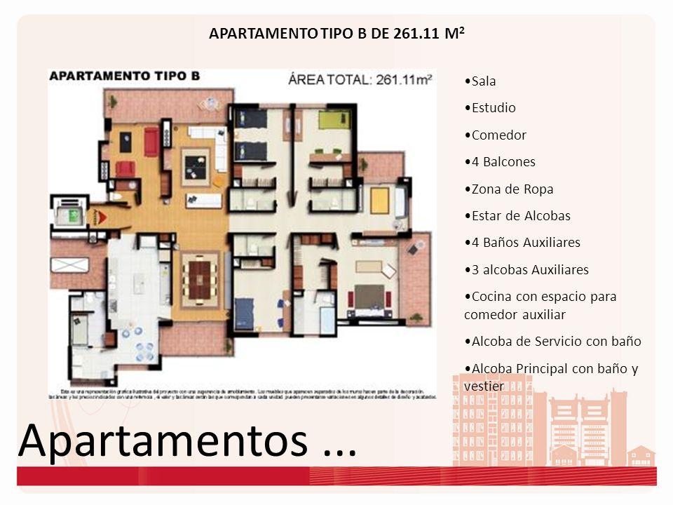 Apartamentos... APARTAMENTO TIPO B DE 261.11 M 2 Sala Estudio Comedor 4 Balcones Zona de Ropa Estar de Alcobas 4 Baños Auxiliares 3 alcobas Auxiliares