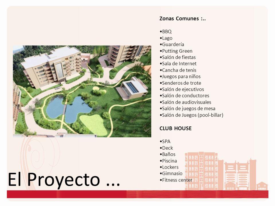 El Proyecto... Zonas Comunes :.. BBQ Lago Guardería Putting Green Salón de fiestas Sala de Internet Cancha de tenis Juegos para niños Senderos de trot
