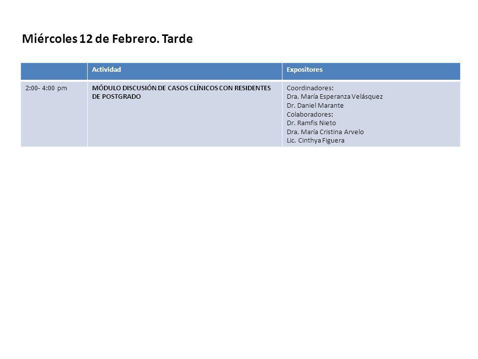 Miércoles 12 de Febrero. Tarde ActividadExpositores 2:00- 4:00 pmMÓDULO DISCUSIÓN DE CASOS CLÍNICOS CON RESIDENTES DE POSTGRADO Coordinadores: Dra. Ma