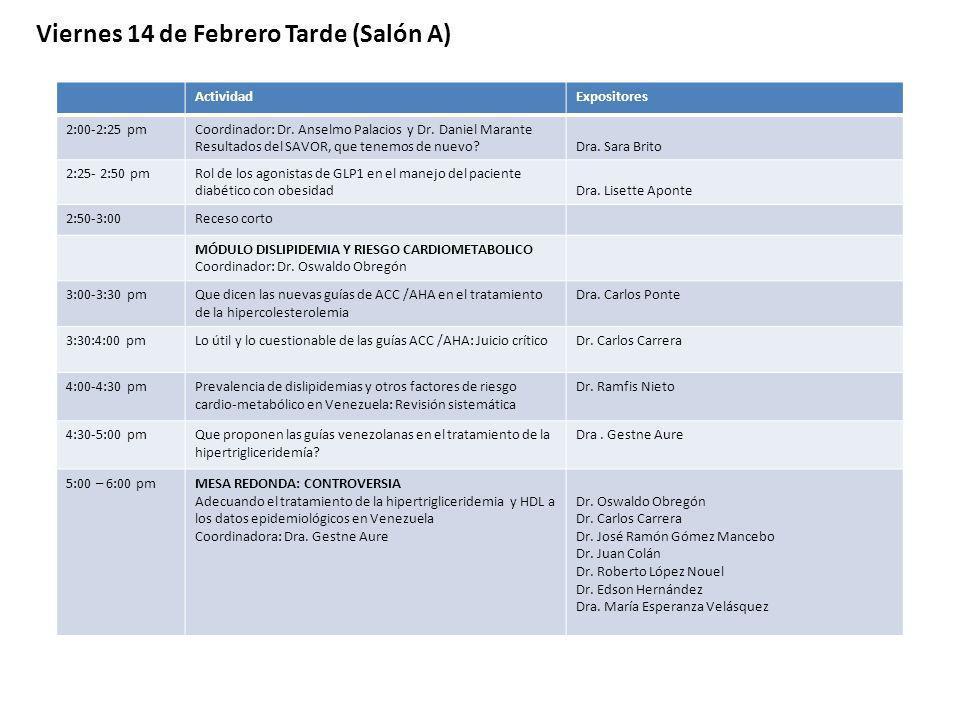 ActividadExpositores 2:00-2:25 pmCoordinador: Dr. Anselmo Palacios y Dr. Daniel Marante Resultados del SAVOR, que tenemos de nuevo?Dra. Sara Brito 2:2