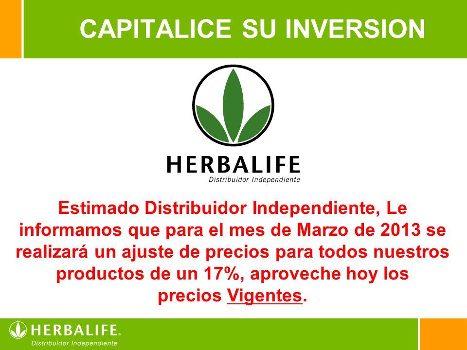 11 Estimado Distribuidor Independiente, Le informamos que para el mes de Marzo de 2013 se realizará un ajuste de precios para todos nuestros productos de un 17%, aproveche hoy los precios Vigentes.