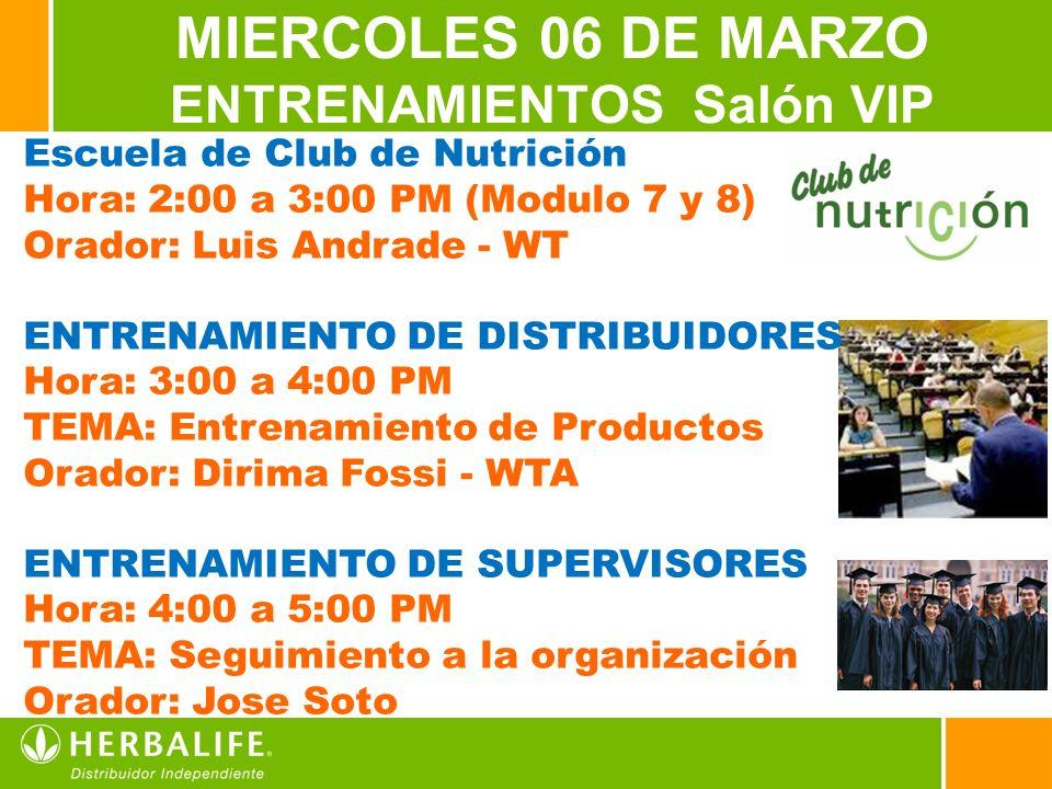 3 MIERCOLES 06 DE MARZO ENTRENAMIENTOS Salón VIP Escuela de Club de Nutrición Hora: 2:00 a 3:00 PM (Modulo 7 y 8) Orador: Luis Andrade - WT ENTRENAMIENTO DE DISTRIBUIDORES Hora: 3:00 a 4:00 PM TEMA: Entrenamiento de Productos Orador: Dirima Fossi - WTA ENTRENAMIENTO DE SUPERVISORES Hora: 4:00 a 5:00 PM TEMA: Seguimiento a la organización Orador: Jose Soto