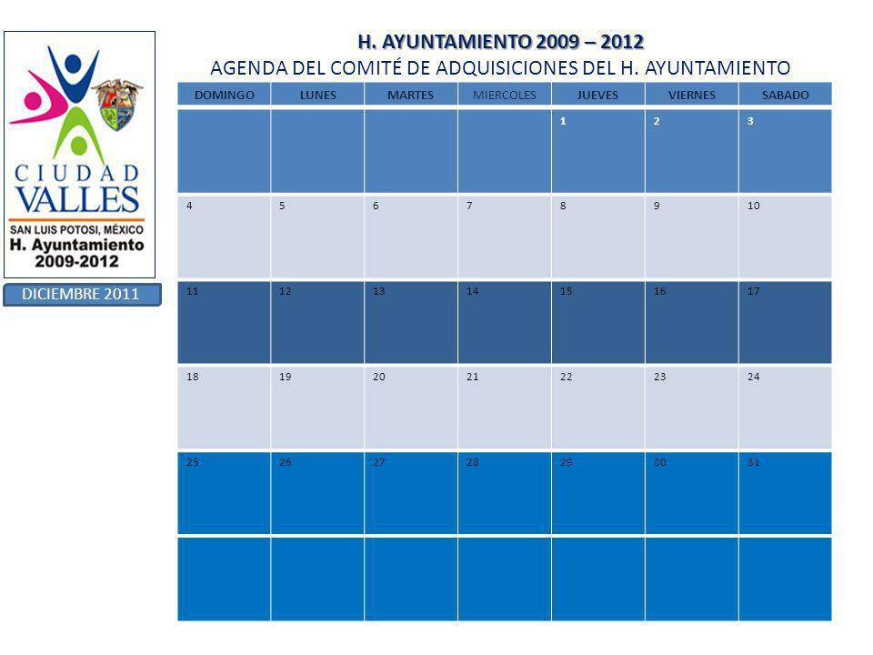H. AYUNTAMIENTO 2009 – 2012 H. AYUNTAMIENTO 2009 – 2012 AGENDA DEL COMITÉ DE ADQUISICIONES DEL H.