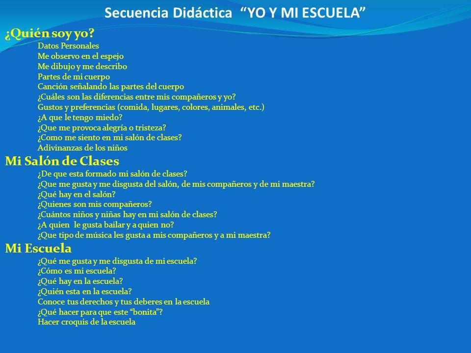 Secuencia Didáctica YO Y MI ESCUELA ¿Quién soy yo.