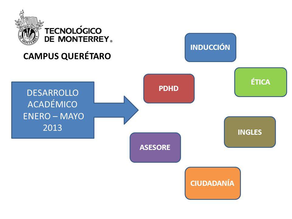 INDUCCIÓN CAMPUS QUERÉTARO DESARROLLO ACADÉMICO ENERO – MAYO 2013 PDHD ASESORE ÉTICA INGLES CIUDADANÍA