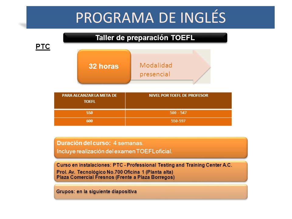 Taller de preparación TOEFL PROGRAMA DE INGLÉS 32 horas PTC Duración del curso: 4 semanas.