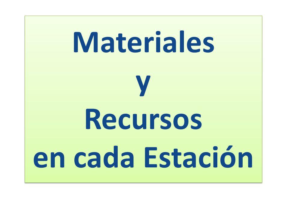 Materiales y Recursos en cada Estación Materiales y Recursos en cada Estación
