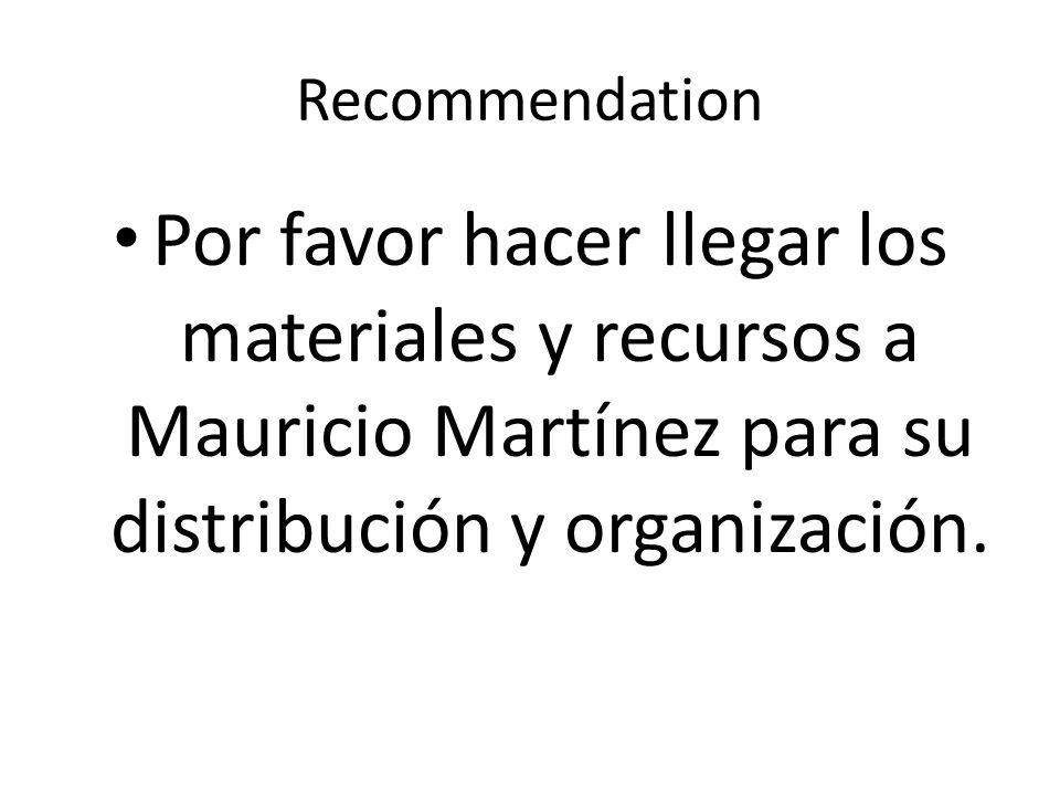 Recommendation Por favor hacer llegar los materiales y recursos a Mauricio Martínez para su distribución y organización.