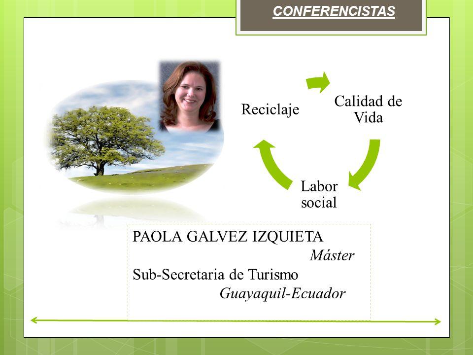 CONFERENCISTAS Calidad de Vida Labor social Reciclaje PAOLA GALVEZ IZQUIETA Máster Sub-Secretaria de Turismo Guayaquil-Ecuador