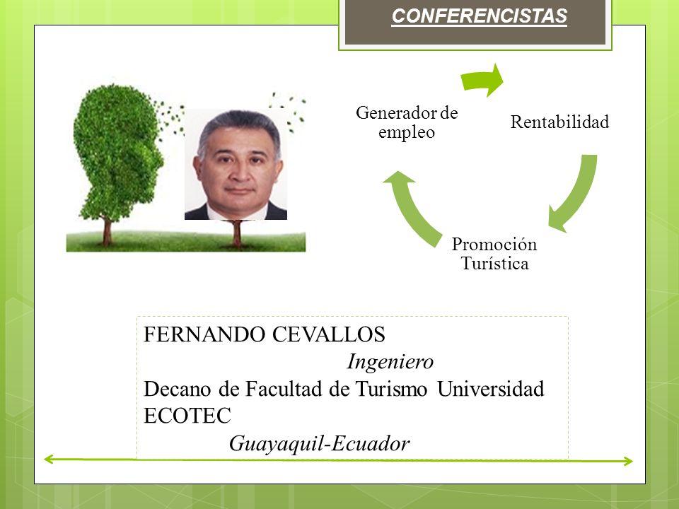 CONFERENCISTAS Rentabilidad Promoción Turística Generador de empleo FERNANDO CEVALLOS Ingeniero Decano de Facultad de Turismo Universidad ECOTEC Guayaquil-Ecuador