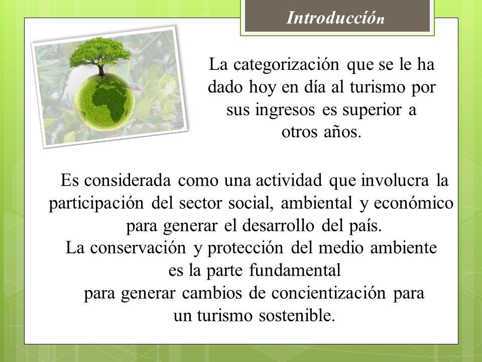 Introduccíó n Es considerada como una actividad que involucra la participación del sector social, ambiental y económico para generar el desarrollo del país.