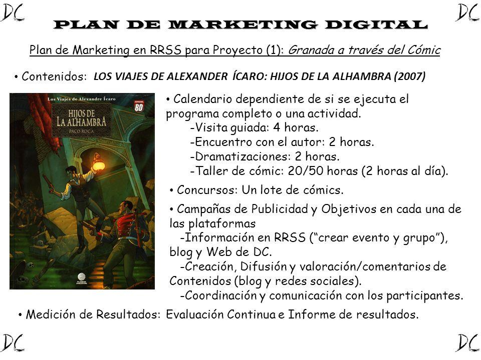 Plan de Marketing en RRSS para Proyecto (1): Granada a través del Cómic PLAN DE MARKETING DIGITAL Contenidos: LOS VIAJES DE ALEXANDER ÍCARO: HIJOS DE