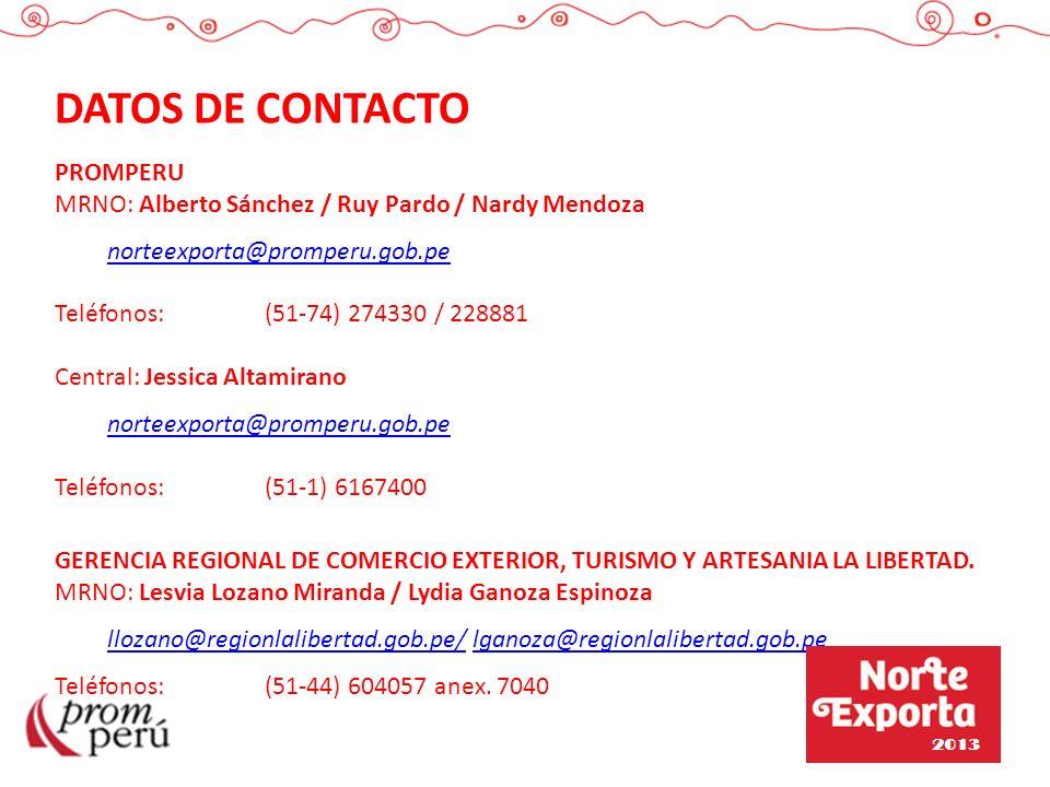 DATOS DE CONTACTO PROMPERU MRNO: Alberto Sánchez / Ruy Pardo / Nardy Mendoza norteexporta@promperu.gob.pe Teléfonos: (51-74) 274330 / 228881 Central: