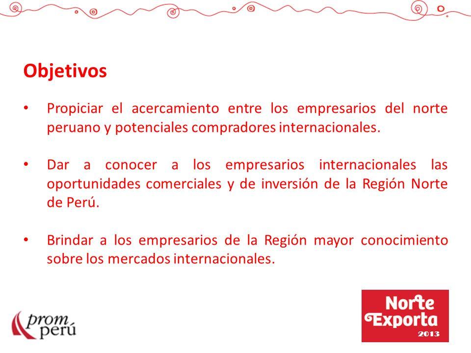 Objetivos Propiciar el acercamiento entre los empresarios del norte peruano y potenciales compradores internacionales. Dar a conocer a los empresarios
