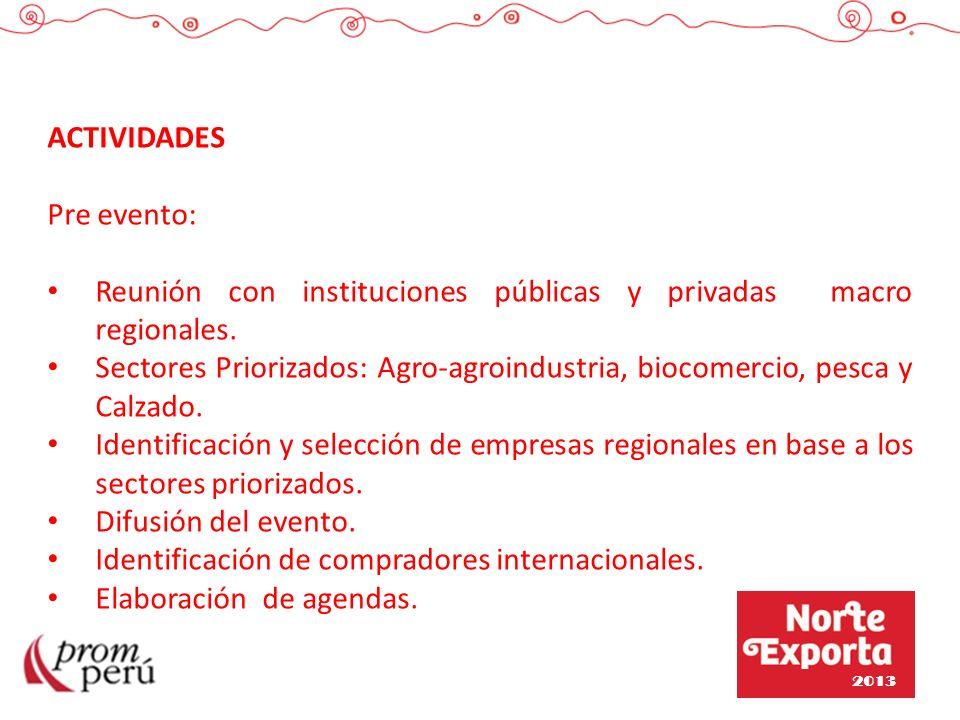 ACTIVIDADES Pre evento: Reunión con instituciones públicas y privadas macro regionales. Sectores Priorizados: Agro-agroindustria, biocomercio, pesca y