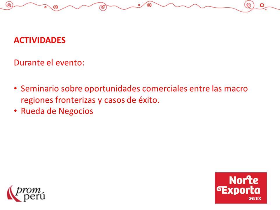 ACTIVIDADES Durante el evento: Seminario sobre oportunidades comerciales entre las macro regiones fronterizas y casos de éxito. Rueda de Negocios