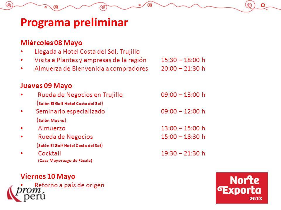 Programa preliminar Miércoles 08 Mayo Llegada a Hotel Costa del Sol, Trujillo Visita a Plantas y empresas de la región15:30 – 18:00 h Almuerza de Bien