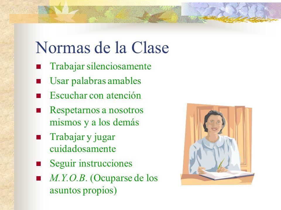 Normas de la Clase Trabajar silenciosamente Usar palabras amables Escuchar con atención Respetarnos a nosotros mismos y a los demás Trabajar y jugar c