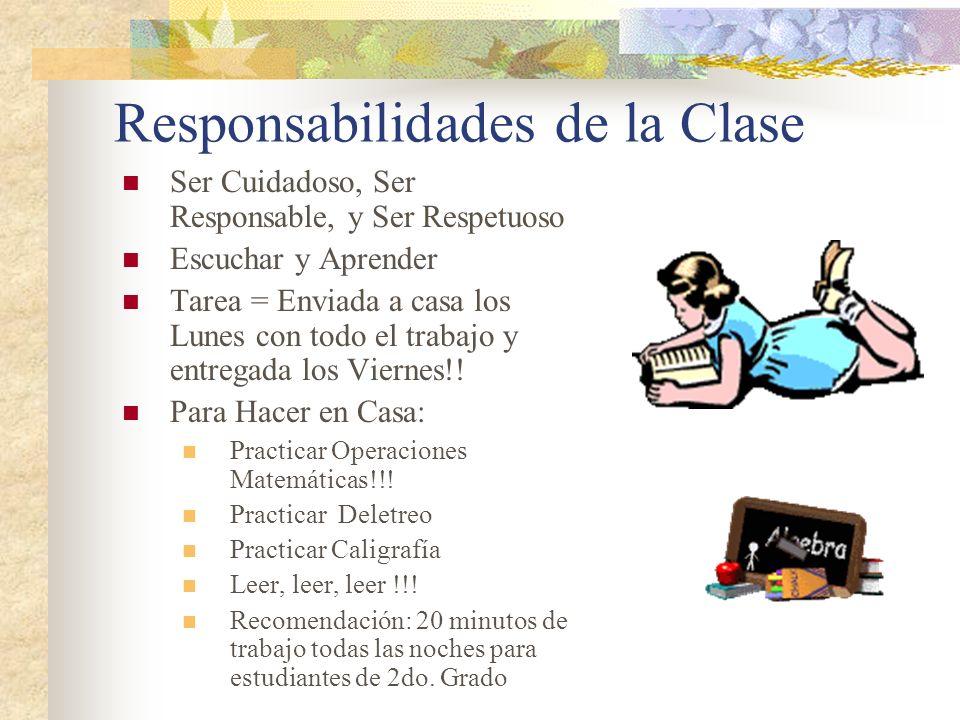 Responsabilidades de la Clase Ser Cuidadoso, Ser Responsable, y Ser Respetuoso Escuchar y Aprender Tarea = Enviada a casa los Lunes con todo el trabaj