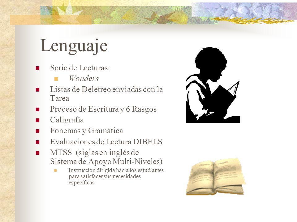 Lenguaje Serie de Lecturas: Wonders Listas de Deletreo enviadas con la Tarea Proceso de Escritura y 6 Rasgos Caligrafía Fonemas y Gramática Evaluacion