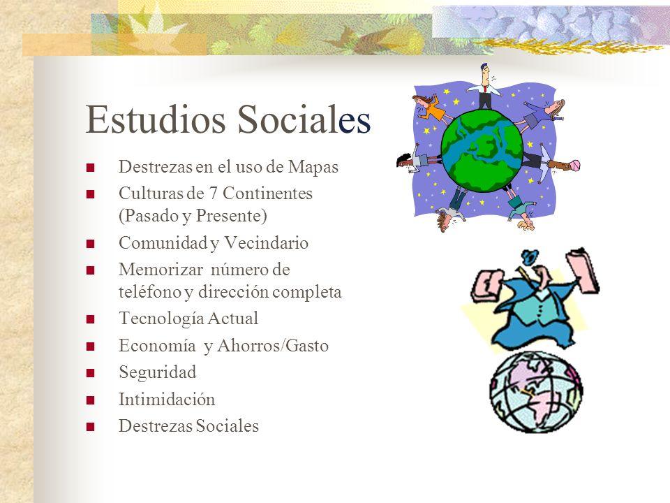 Estudios Sociales Destrezas en el uso de Mapas Culturas de 7 Continentes (Pasado y Presente) Comunidad y Vecindario Memorizar número de teléfono y dir