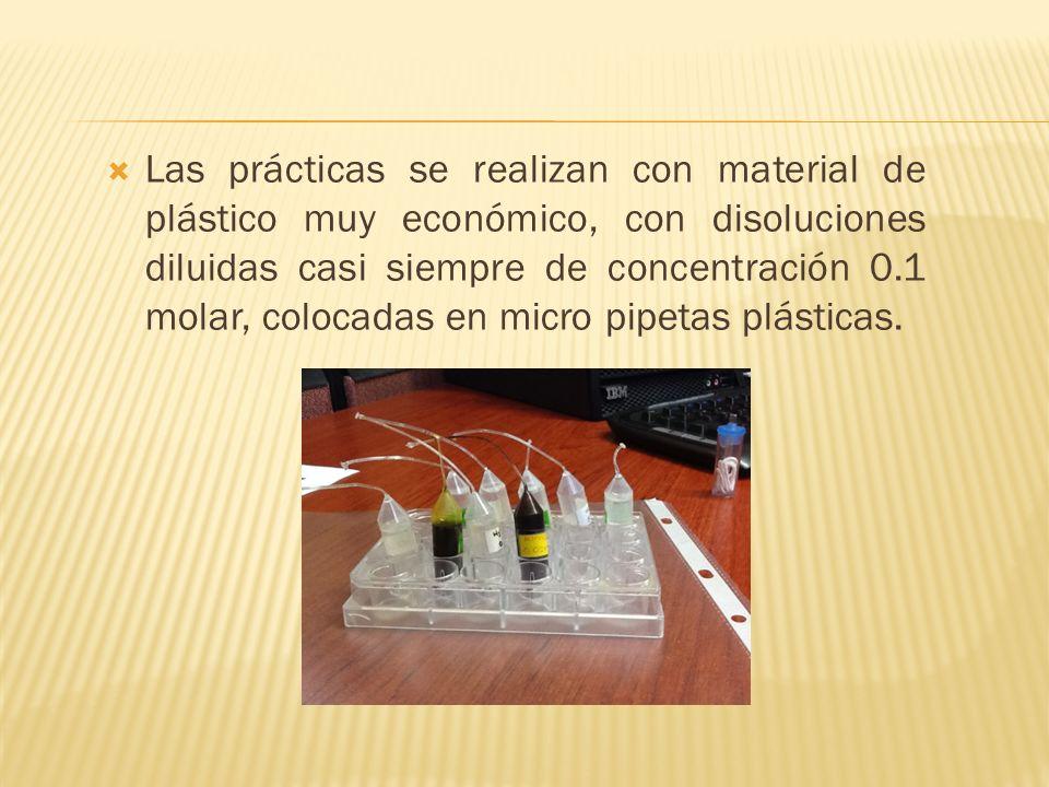 Las prácticas se realizan con material de plástico muy económico, con disoluciones diluidas casi siempre de concentración 0.1 molar, colocadas en micr