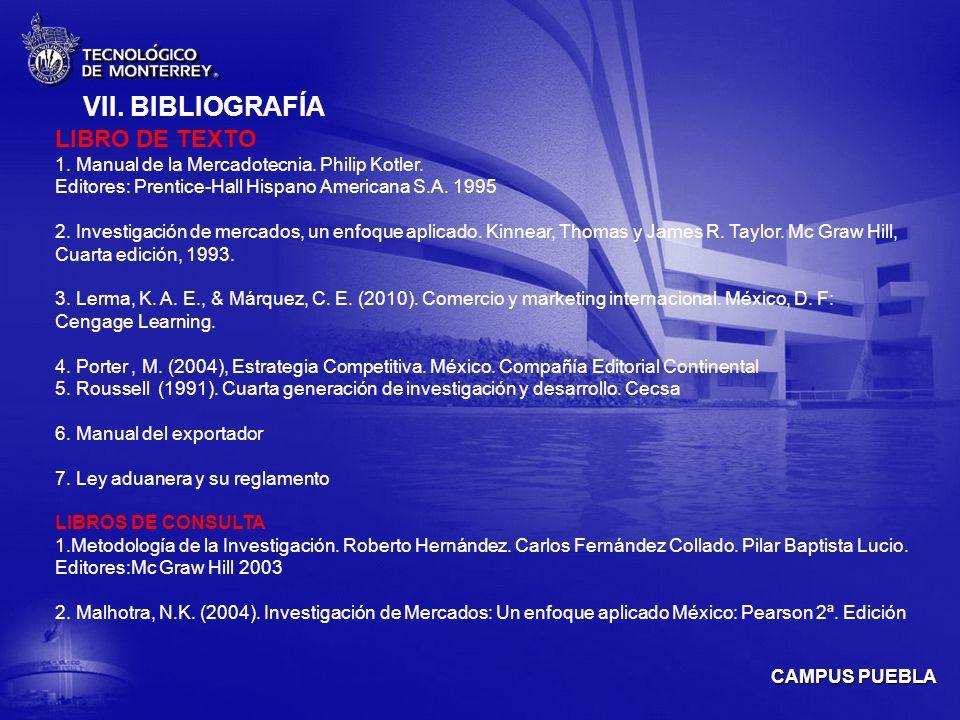 CAMPUS PUEBLA VII.BIBLIOGRAFÍA LIBRO DE TEXTO 1. Manual de la Mercadotecnia.