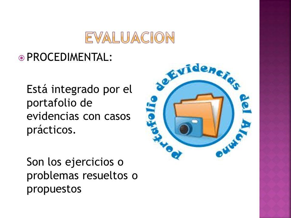 PROCEDIMENTAL: Está integrado por el portafolio de evidencias con casos prácticos. Son los ejercicios o problemas resueltos o propuestos