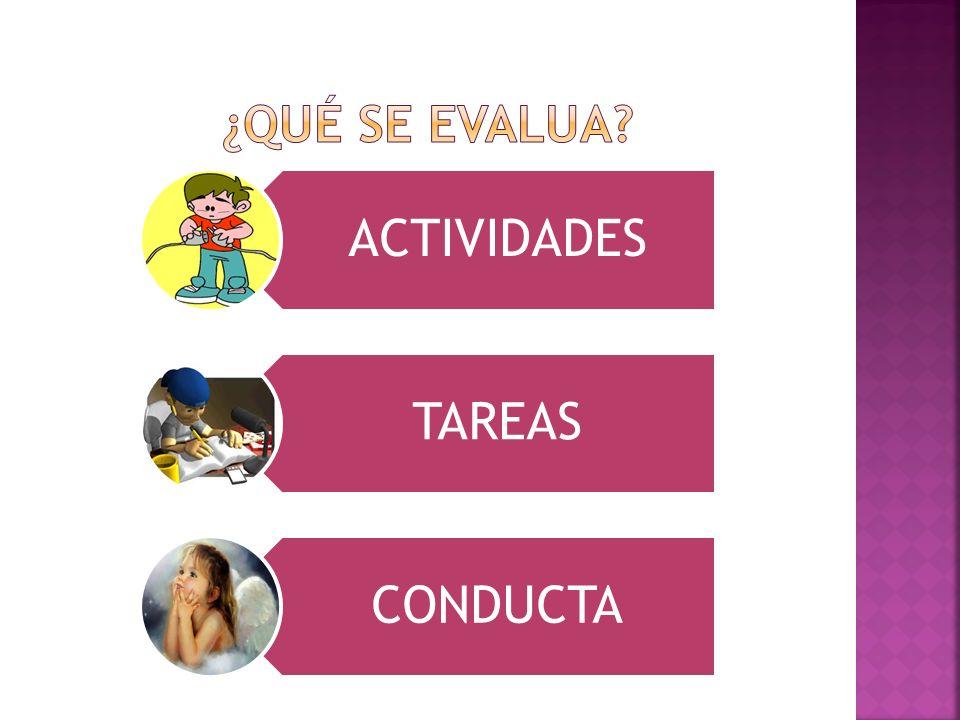 ACTIVIDADES TAREAS CONDUCTA