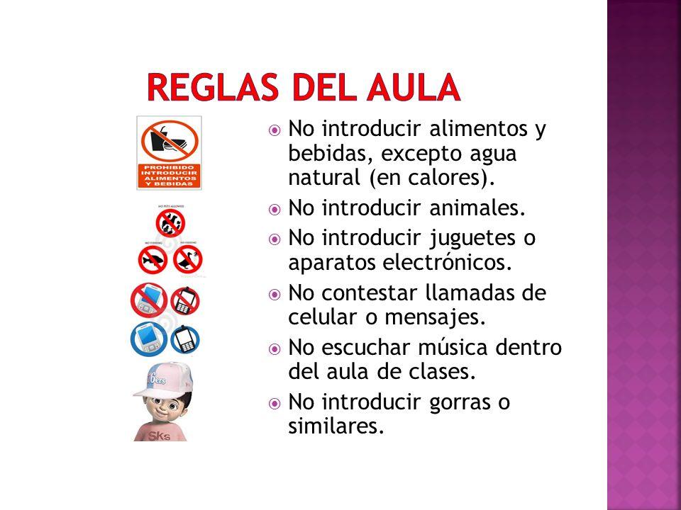 No introducir alimentos y bebidas, excepto agua natural (en calores). No introducir animales. No introducir juguetes o aparatos electrónicos. No conte